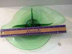 "Vintage Mid Century Viking Green Glass 12"" Three Part Divided Bowl Dish Ground"