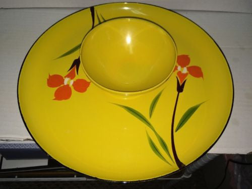 Mid Century Yellow Plastic Chip & Dip Set Orange Flowers Iris