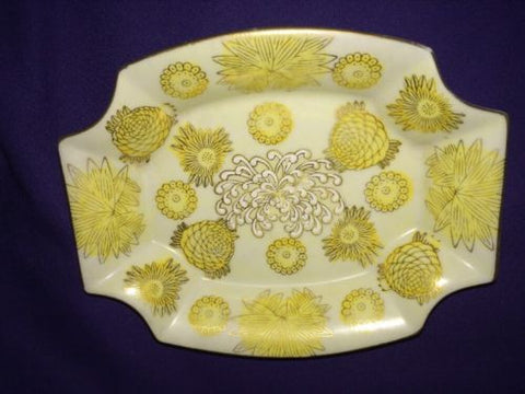 Vintage Andrea By Sadek Yellow Gold Mums Porcelain Dish 7259 White Enamel Spider