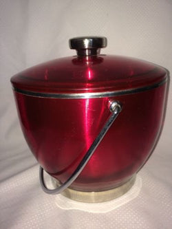 Vintage Mid Century Red Plastic Over Brushed Steel  Stainless Steel Trim