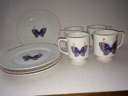 8 Piece Enesco Japan MCM Pink Blue Butterfly Cup Plate Dessert Salad Lunch Set