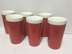Set Of 6 Mid Century Therm Ware Red David Douglas Insulated Cups Mugs