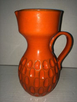 Mid Century Italy Orange Pottery Hand Made Sculptured Pottery Pitcher Ewer