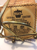 Vintage MCM Royal Catch-All Coasters In Metal Holder Welcome To Our Home