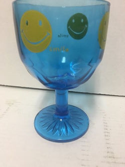 Retro Groovy Blue Smiley Face Glass Pedestal Vintage 70s Goblet