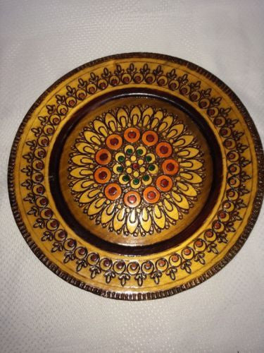 "Mid Century Wooden 9.75"" Plate Geometric Circle Flower Wood Burning Orange Green"