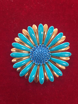 Vintage Enamel Gold and Blue Flower Pin