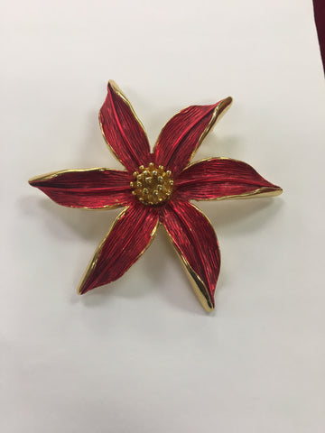 Vintage Poinsettia Pin by Tara