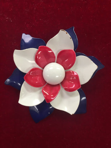 Vintage Enamel Pink, White, and Blue Flower Pin