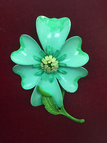 Vintage Enamel Light Green Flower Pin