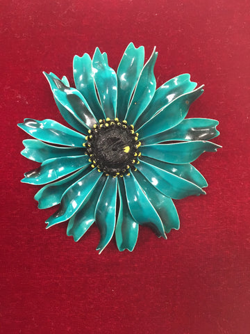 Vintage Enamel Teal Blue Flower Pin