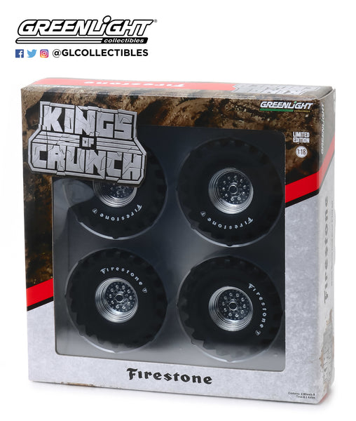 1:18 Kings of Crunch - 48-Inch Monster Truck Firestone Wheel & Tire Set