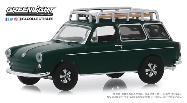 Greenlight 1:64 Estate Wagons Series 4 : 1969 Volkswagen Type 3 Squareback - Dark Green