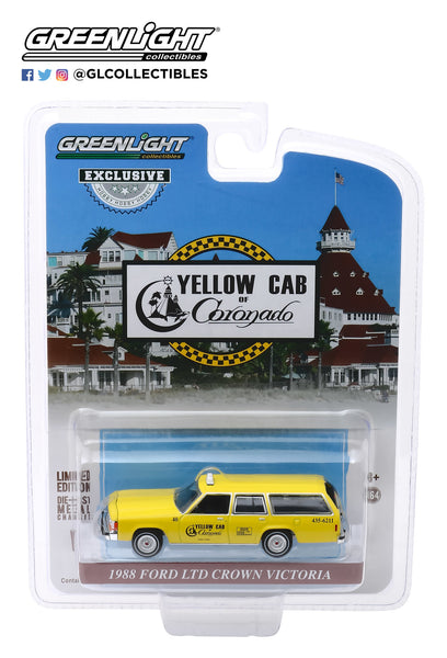 Greenlight Hobby Exclusive 1:64 1988 Ford LTD Crown Victoria Wagon - Yellow Cab of Coronado, California