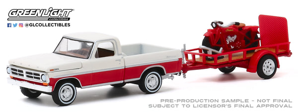 Greenlight 1:64 Hitch & Tow Series 20 - 1972 Ford F-100 and Utility Trailer with 1920 Indian Scout Motorcycle