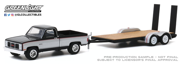 Greenlight 1:64 Hitch & Tow Series 20 - 1986 GMC Sierra Classic 2500 with Flatbed Trailer