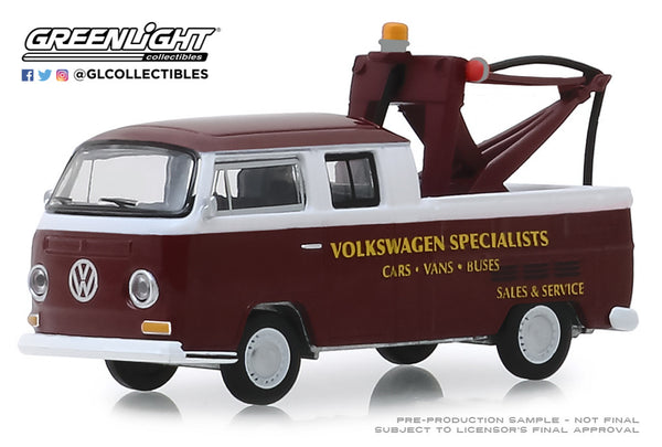 "Greenlight 1:64 Blue Collar Collection Series 6 : 1968 Volkswagen Type 2 Crew Cab Pick-Up ""Doka"" with Drop in Tow Hook ""Volkswagen Specialists"""