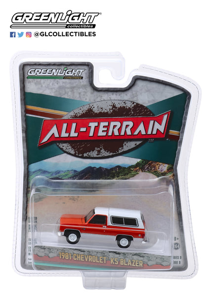 Greenlight 1:64 All - Terrain Series 9 1981 Chevrolet K5 Blazer - Burnt Orange Metallic and Frost White