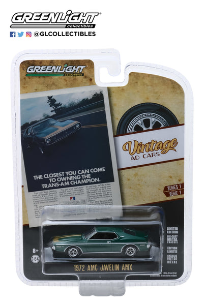 "1:64 Vintage Ad Cars Series 1 - 1972 AMC Javelin AMX ""The Closest You Can Come To Owning The Trans-Am Champion"""