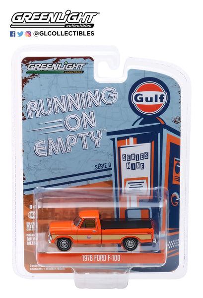 1:64 Running on Empty Series 9 - 1976 Ford F-100 with Bed Cover - Gulf Oil