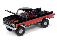 Auto-World 1:64 1978 Chevy K10 Silverado Truck in Gloss Black with Red Sides