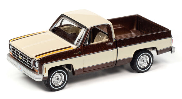Auto-World 1:64 1977 Chevrolet Bonanza C10 Pickup in Brown Poly with Cream & Hood Stripes