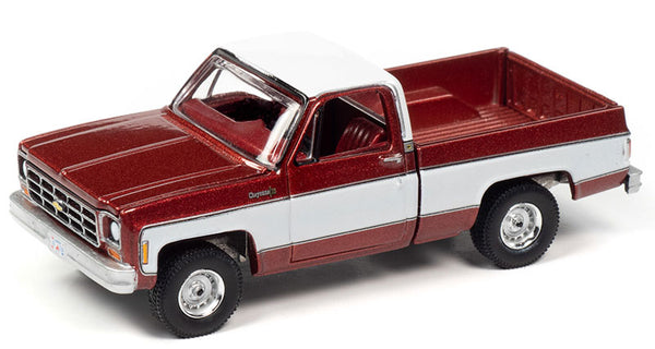 Auto-World 1:64 1977 Chevrolet Cheyenne C10 Pickup in Dark Red Poly with White