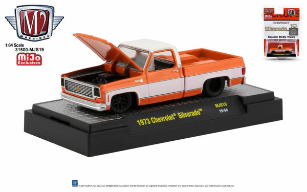 M2 1:64 1973 Chevrolet Silverado (Orange/White) - MiJo Exclusives