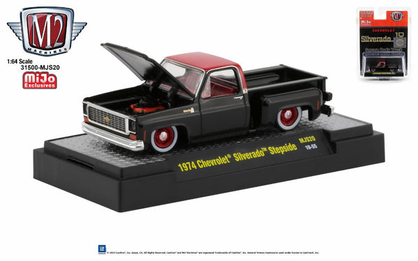 M2 1:64 1974 Chevrolet Silverado Stepside (Black with Red Top) : MiJo Exclusive