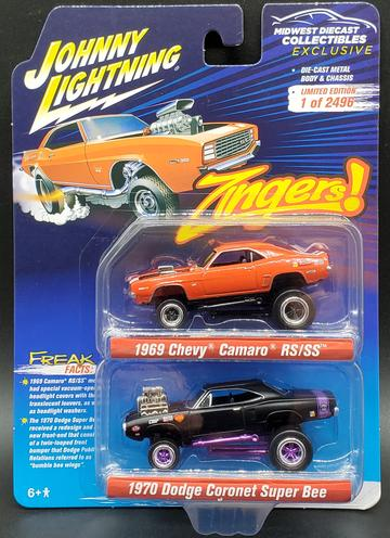 Johnny Lightning MDC Exclusive Zingers 2-Pack 1969 Camaro RS/SS & 1970 Dodge Coronet Super Bee