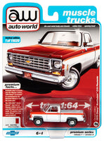 Auto World 1:64 1976 Chevrolet Scottsdale Truck in White and Red - Olympic Edition