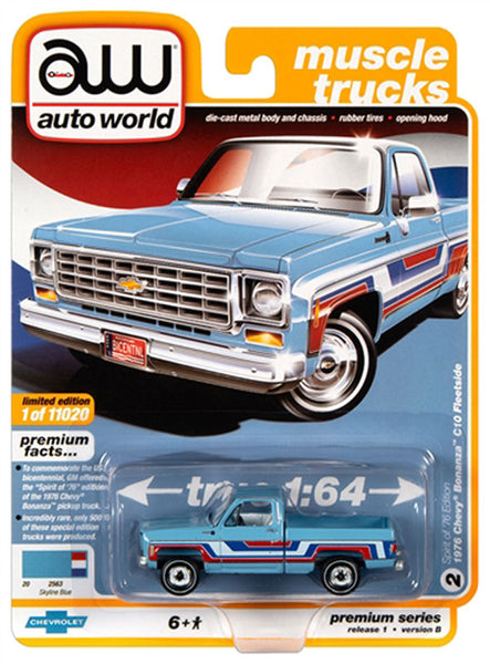 Auto World 1:64 1976 Chevrolet Bonanza Truck in Skyline Blue with Stripes  - Bicentennial Edition