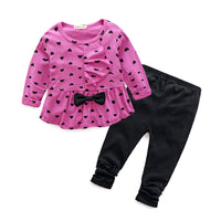 2PCS Baby Girl Heart-shaped Bow t shirt+pants Clothes Set