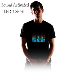 Sound Activated LED T Shirt Men Light Up DJ shirt - CueLoops