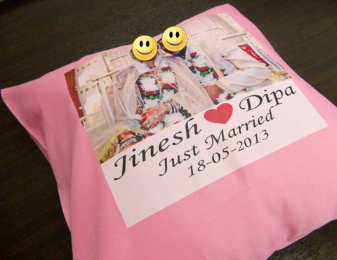 Personalized Cushion with photo of couple printed on it