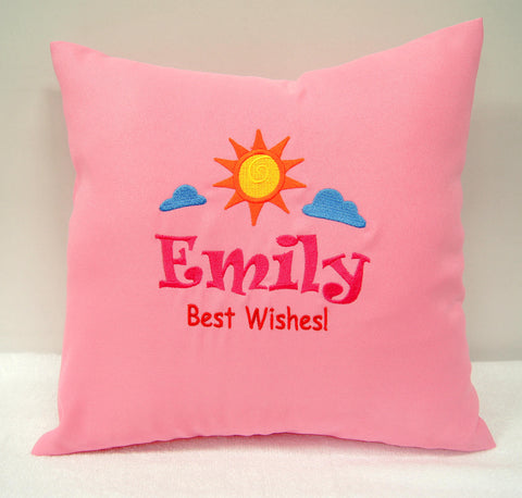 Pink cushion with Best wishes message