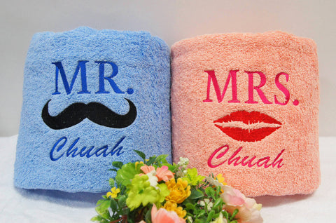 Personalised couple bath towel