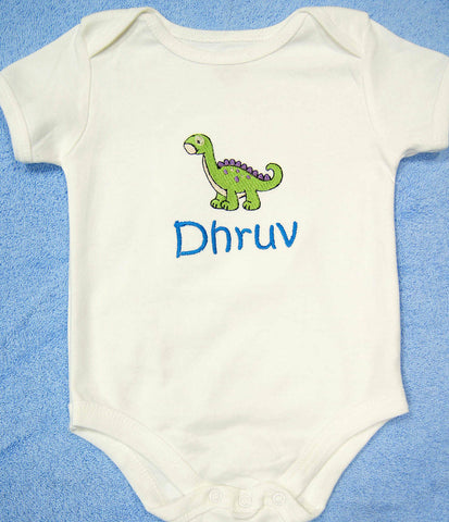 Personalised baby romper with embroidery
