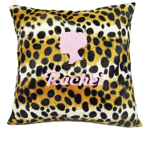 personalised animal fur cushion embroidery