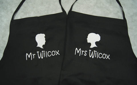 Personalised couple apron embroidery