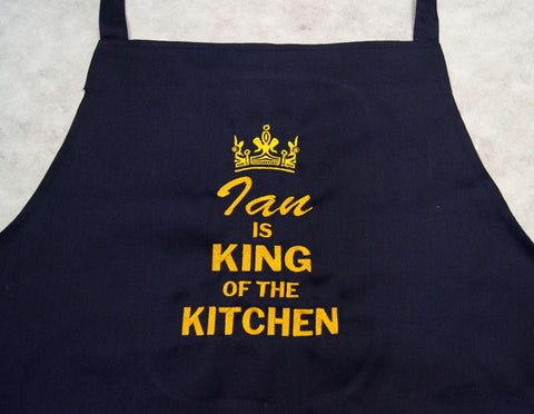 Black apron  with personalised name