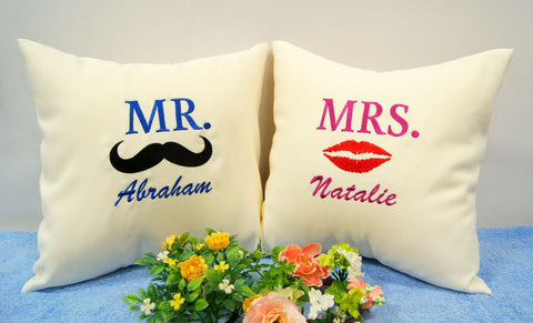 Couple Cushion with kiss design