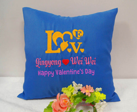 Blue cushion with LOVE design