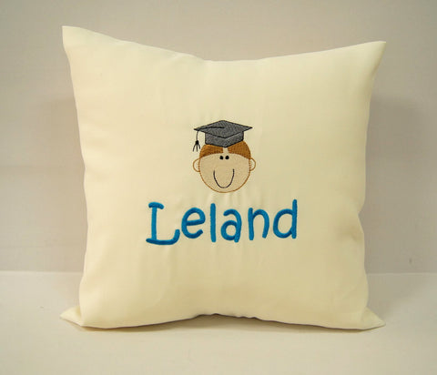 Beige cushion with graduation picture