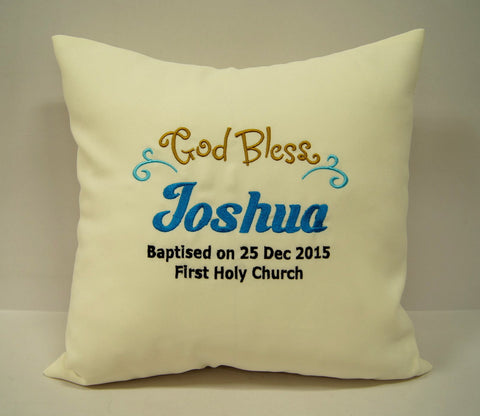 Cushion with customized baptism message