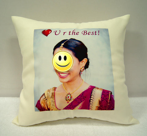 Beige cushion with photo print