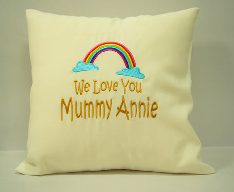 Personalised embroidery cushion