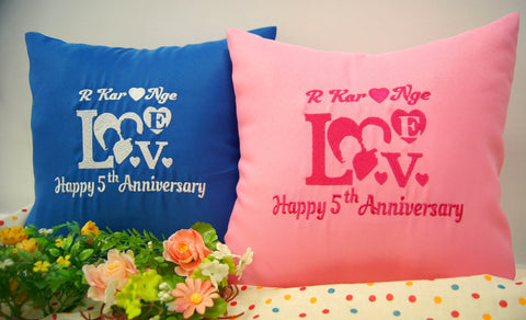 Personalise anniversary cushion