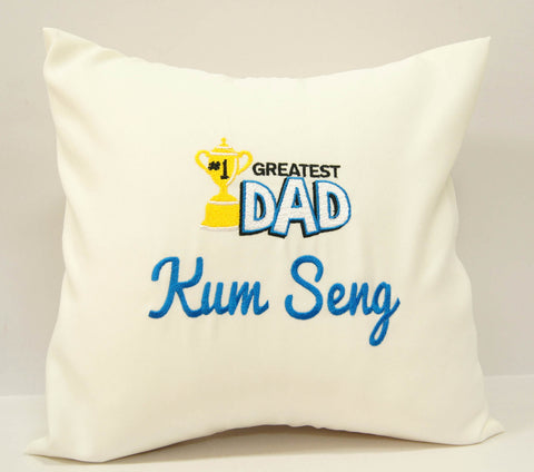 Beige Cushion with Greatest Dad embroidery for Father's Day celebration