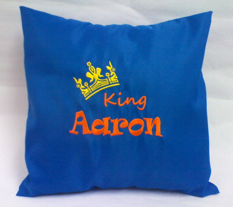 Personalised embroidery cushion with king crown design